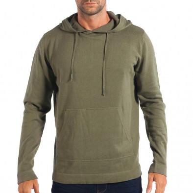Мъжки лек пуловер RESERVED в зелено с качулка lp070818-70 2