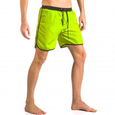 Мъжки неоново зелени бански тип шорти с бандаж ca050416-29 4