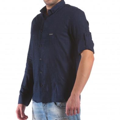 Мъжка синя риза с малки разноцветни детайли il210616-29 4