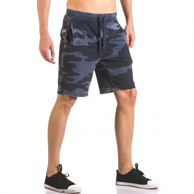 Мъжки къси панталони тип шорти син камуфлаж ca050416-45 4
