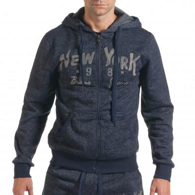 Мъжки син спортен комплект с надпис New York it210916-1 4