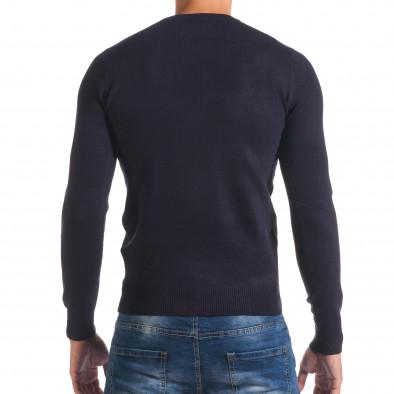 Мъжки син изчистен пуловер с обло деколте it170816-41 3