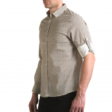 Мъжка бяла риза с кафява фигурална шарка Jeanscollic 5