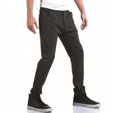 Мъжки тъмно сив панталон с малък детайл отпред it090216-3 4