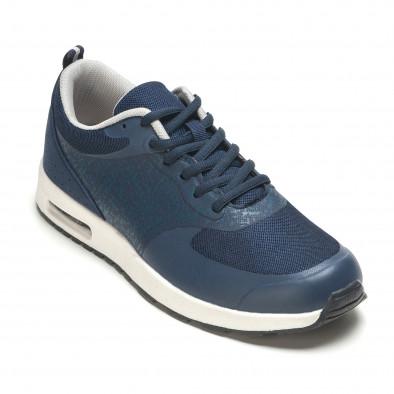 Мъжки тъмно сини маратонки с камери на подметките it210416-8 3