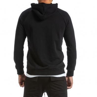 Мъжки черен суичър с качулка и контраст tr070921-36 3