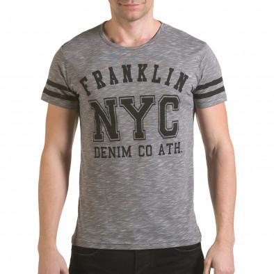 Мъжка сива тениска NYC il170216-4 2
