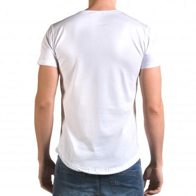 Мъжка бяла издължена тениска с черна лента it090216-67 3