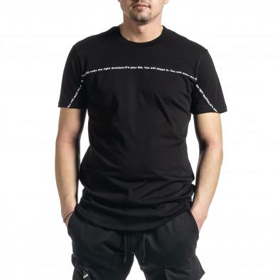 Мъжка черна тениска с декоративен шев tr270221-39 2