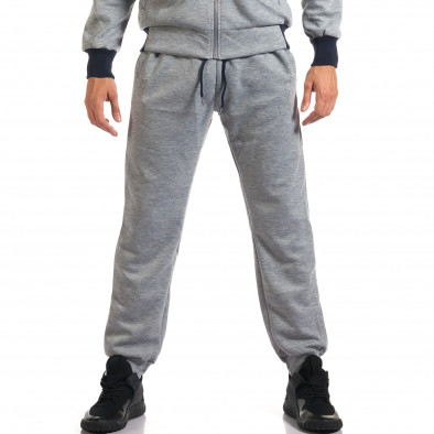 Мъжки светло сив спортен комплект с декоративен цип it160916-75 5