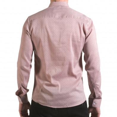 Мъжка бежова риза с малки детайли и скрити копчета il170216-116 3