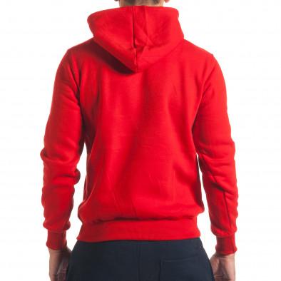 Мъжки червен суичър с бял надпис it240816-61 3