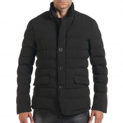 Мъжко черно зимно яке с елегантен дизайн it190616-4 2