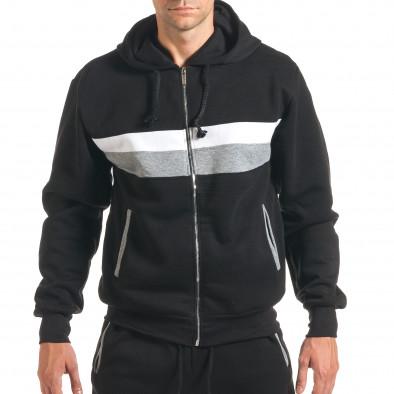 Мъжки черен спортен комплект с бяла и сива лента it160916-67 4