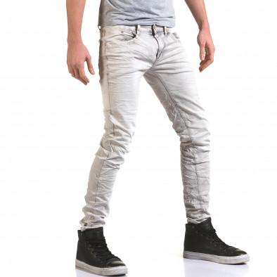 Мъжки светло сив дънков панталон с избелял ефект it090216-22 4