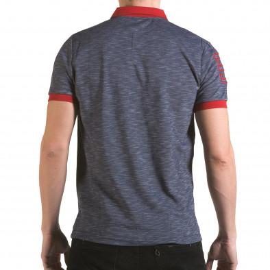Мъжка синя тениска с червена яка il170216-38 3