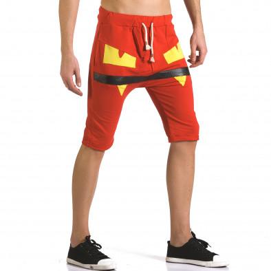 Мъжки червени шорти с жълти детайли it110316-74 4