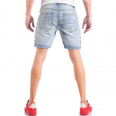 Мъжки къси дънки от избелен деним с кантове it050618-24 5