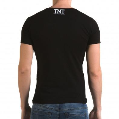 Мъжка черна тениска със златист надпис il120216-61 3