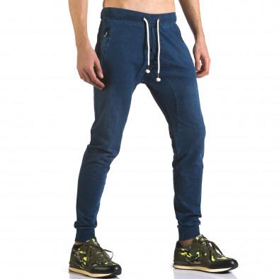 Мъжки сини потури с ефект на дънки и ципове на джобовете it090216-56 4