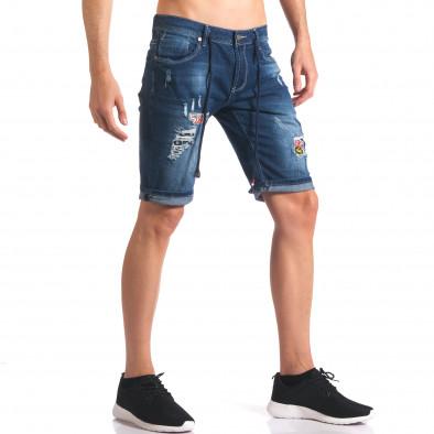 Мъжки къси дънкови панталони с връзки и апликации it250416-35 4