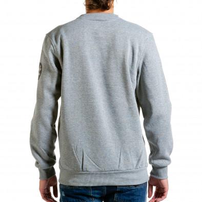 Мъжка светло сива блуза с декоративни ципове hn240815-54 3