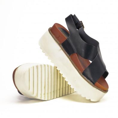Черни дамски сандали на платформа базов модел it190618-5 4