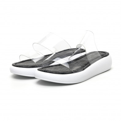 Дамски чехли с прозрачни каишки сив леопард tr180320-5 3