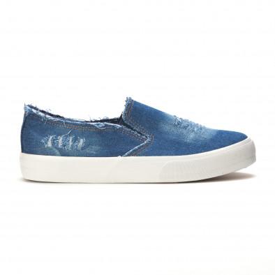 Мъжки сини дънкови кецове slip on it090616-14 2