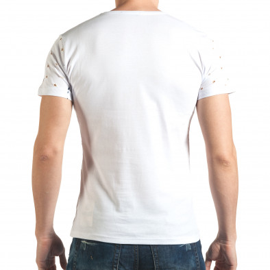 Мъжка бяла тениска с декоративни дупки звезди il140416-57 3