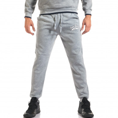 Мъжки сив спортен комплект с голям надпис it160916-69 5
