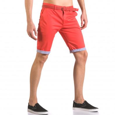 Мъжки червен къс панталон с плетен колан ca050416-55 4