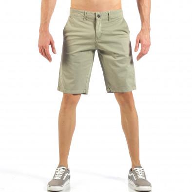 Мъжки бежови къси панталони с италиански джобове it260318-134 2