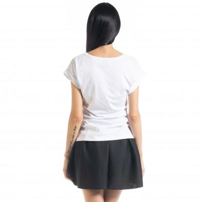Дамска тениска с пайети в бяло il080620-5 3