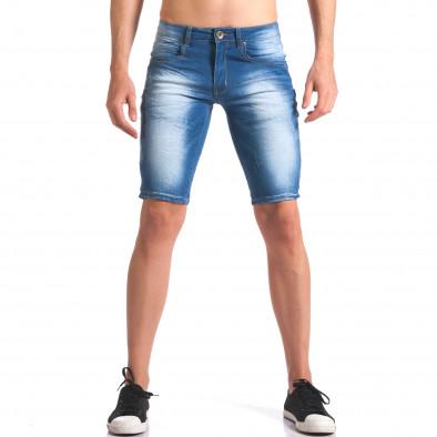 Къси мъжки дънки с избелял ефект it250416-30 2
