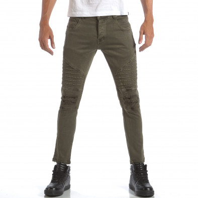 Мъжки зелени дънки със скъсвания и кръпки it160817-10 2