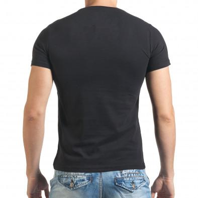 Мъжка черна тениска със сив принт и надпис Just Relax 4