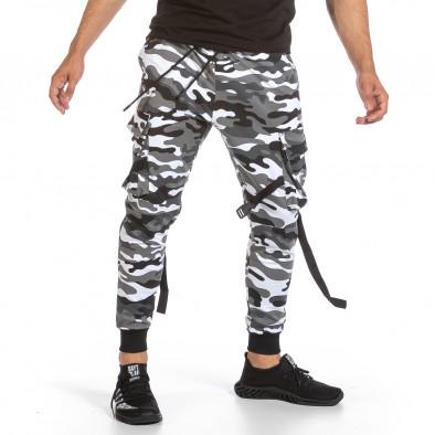 Мъжко Hip Hop долнище черно-бял камуфлаж it240621-38 2