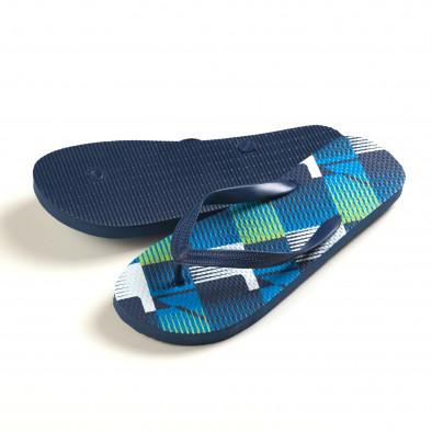 Мъжки сини джапанки с райета it150616-12 3