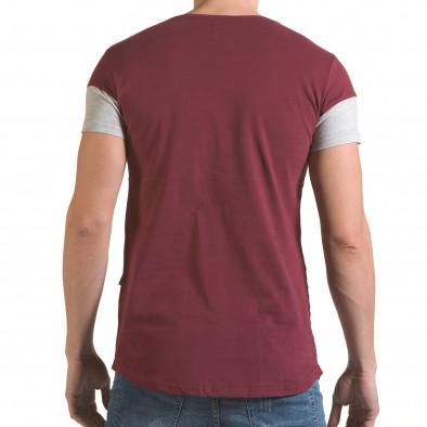 Мъжка червена тениска със сива лента il170216-75 3