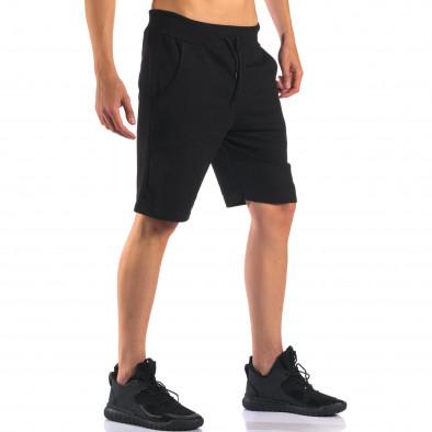 Черни мъжки спортни шорти изчистен модел it160616-11 4