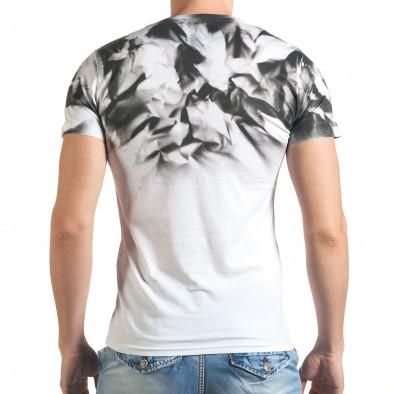 Бяла мъжка тениска с принт на раменете tsf140416-73 3