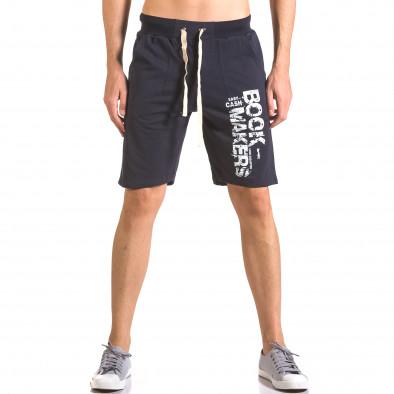 Мъжки сини шорти за фитнес с надпис Book Makers ca050416-40 2