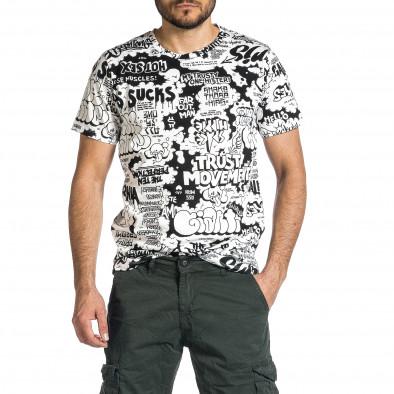 Мъжка черно-бяла тениска с комикси it200421-9 3