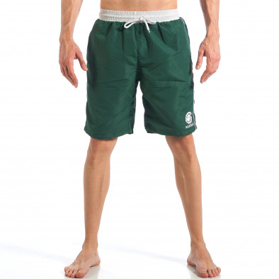 Мъжки зелен бански със син кант отстрани it110418-4 2