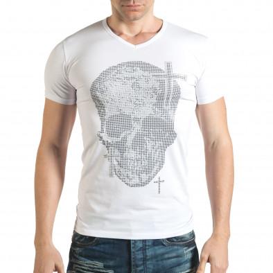 Бяла мъжка тениска с череп от сребристи и черни камъни il140416-10 2