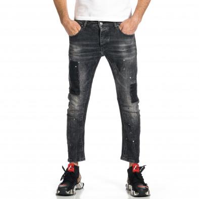 Мъжки черни дънки Cropped Destroyed Paint gr270421-20 2