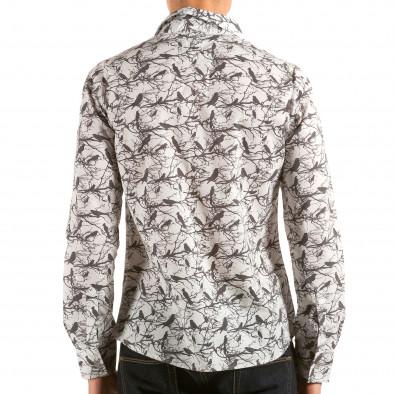 Мъжка бяла риза с черни птици и клони il180215-188 2