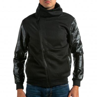 Мъжки черен суичър с кожени ръкави tsf290914-23 2