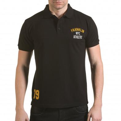 Мъжка черна тениска с яка с надпис Franklin NYC Athletic Franklin 4